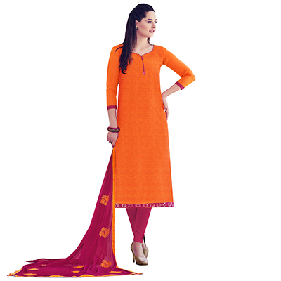 Orange Colored Embroidered Work Casual Wear Chanderi Suit