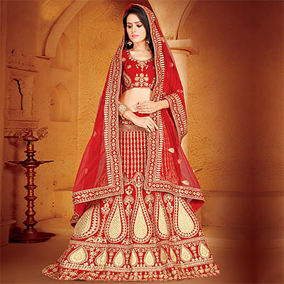 Capricious Red Colored Designer Embroidered Wedding Wear Velvet Lehenga Choli