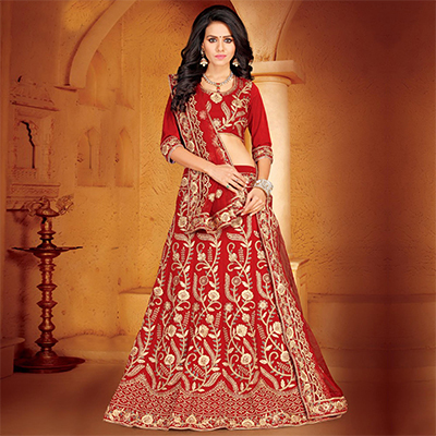 Snazzy Red Colored Designer Embroidered Wedding Wear Velvet Lehenga Choli