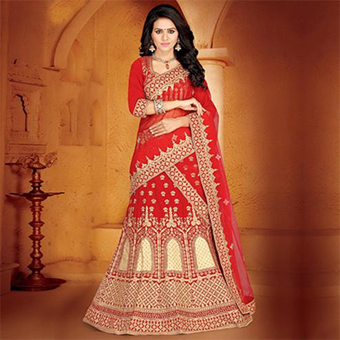 Opulent Red Colored Designer Embroidered Wedding Wear Velvet Lehenga Choli