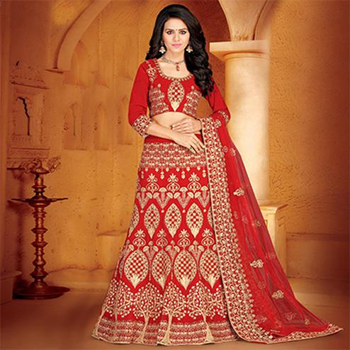 Sensational Red Colored Designer Embroidered Wedding Wear Velvet Lehenga Choli