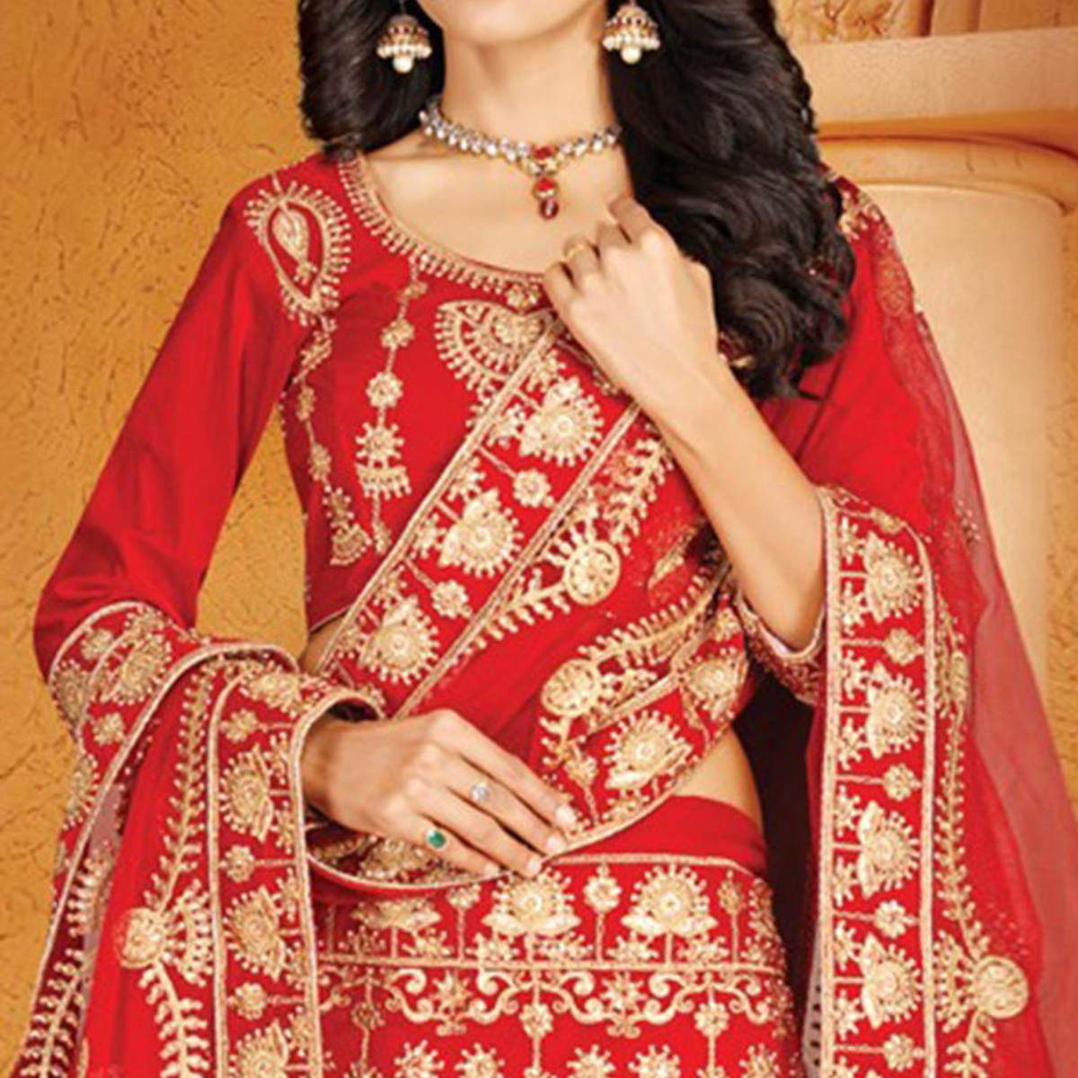 Alluring Red Colored Designer Embroidered Wedding Wear Velvet Lehenga Choli