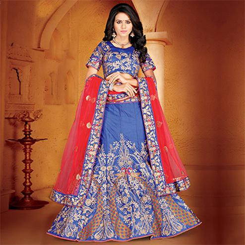 Elegant Blue Colored Designer Embroidered Wedding Wear Velvet Lehenga Choli
