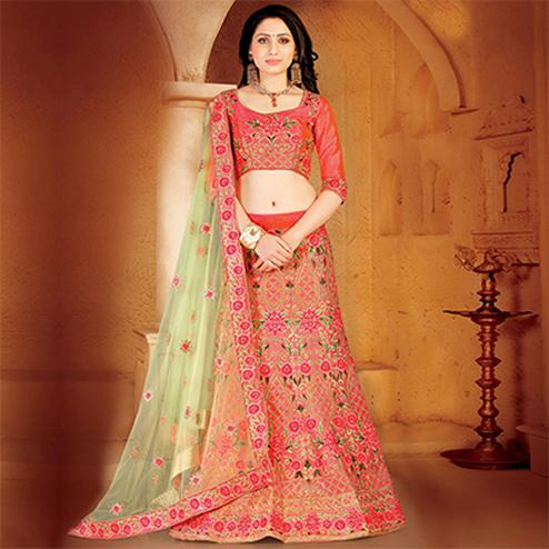 Refreshing Pink Colored Designer Embroidered Wedding Wear Linen Lehenga Choli