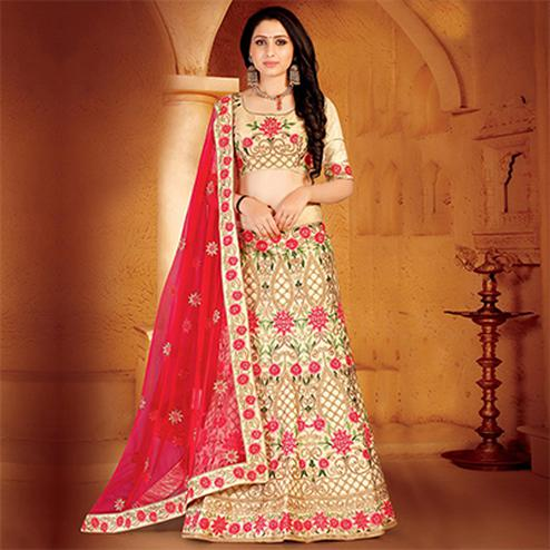Pleasant Cream Colored Designer Embroidered Wedding Wear Linen Lehenga Choli