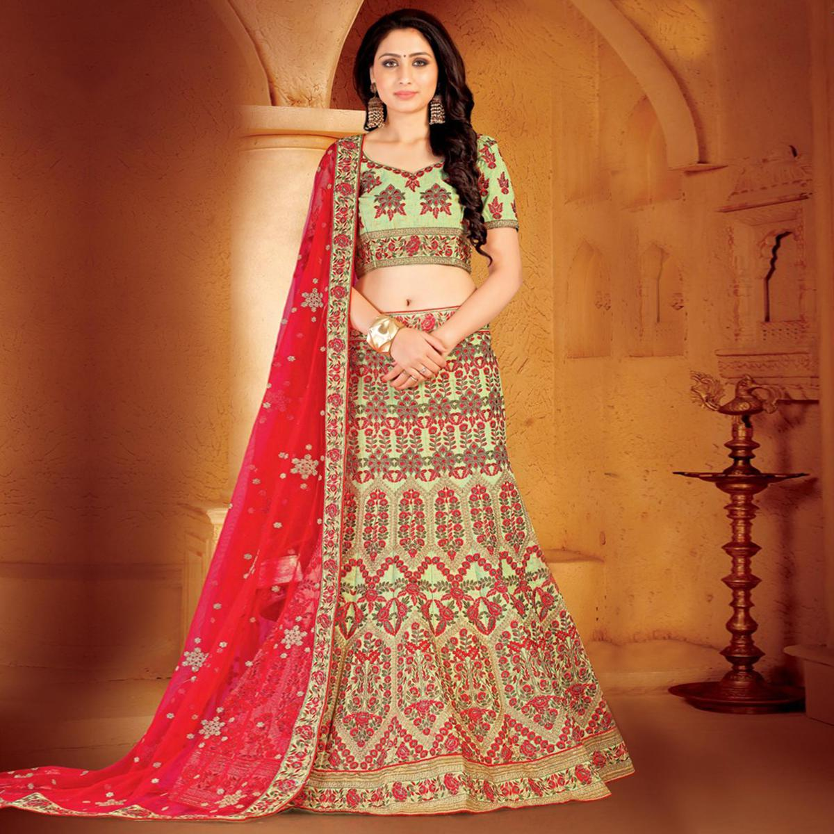 Intricate Pista Green-Red Colored Designer Embroidered Wedding Wear Linen Lehenga Choli