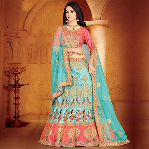 Dazzling Sky Blue Colored Designer Embroidered Wedding Wear Sana Art Silk Lehenga Choli