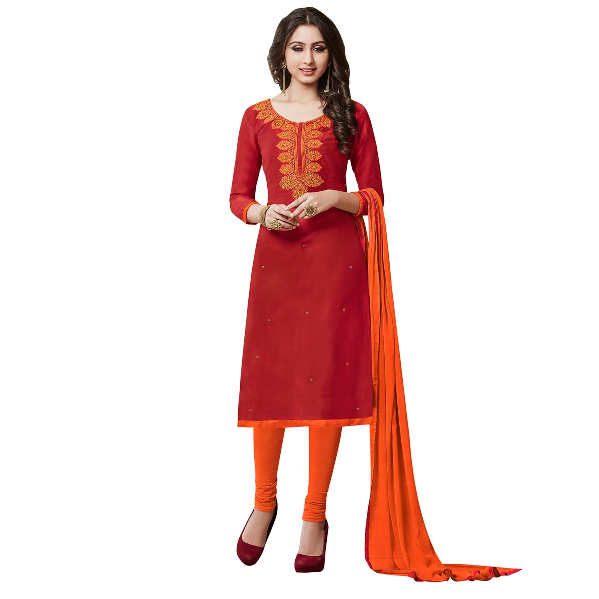 Elegant Red Colored Partywear Embroidered Cotton Dress Material