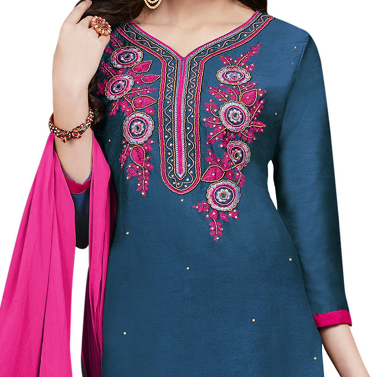 Lovely Blue Colored Partywear Embroidered Cotton Dress Material
