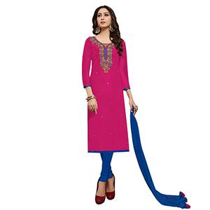Attractive Pink Colored Partywear Embroidered Cotton Dress Material