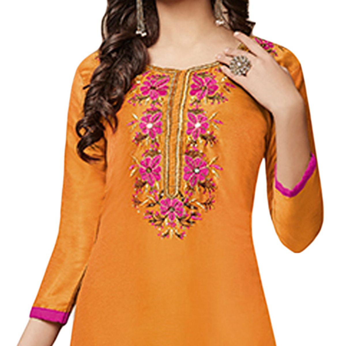 Desirable Orange Colored Partywear Embroidered Cotton Dress Material
