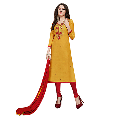 Demanding Yellow Colored Partywear Embroidered Cotton Dress Material