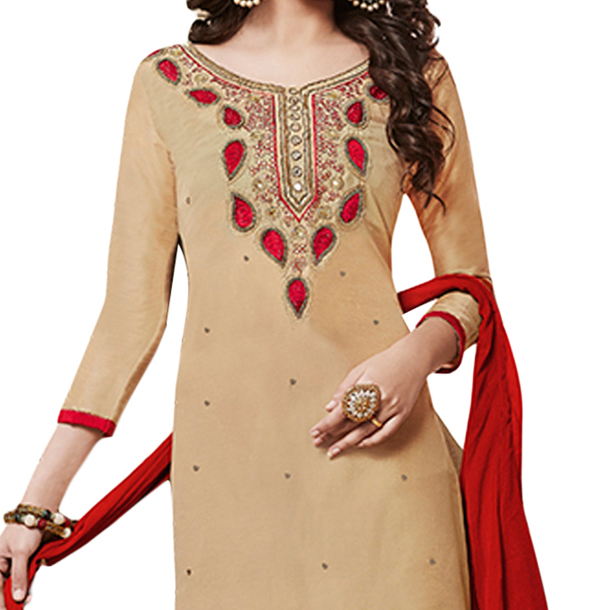 Eye-catching Beige Colored Partywear Embroidered Cotton Dress Material