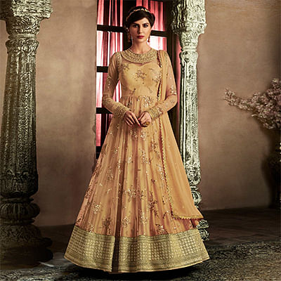 Intricate Beige Colored Embroidered Work Wedding Wear Net Anarkali Suit