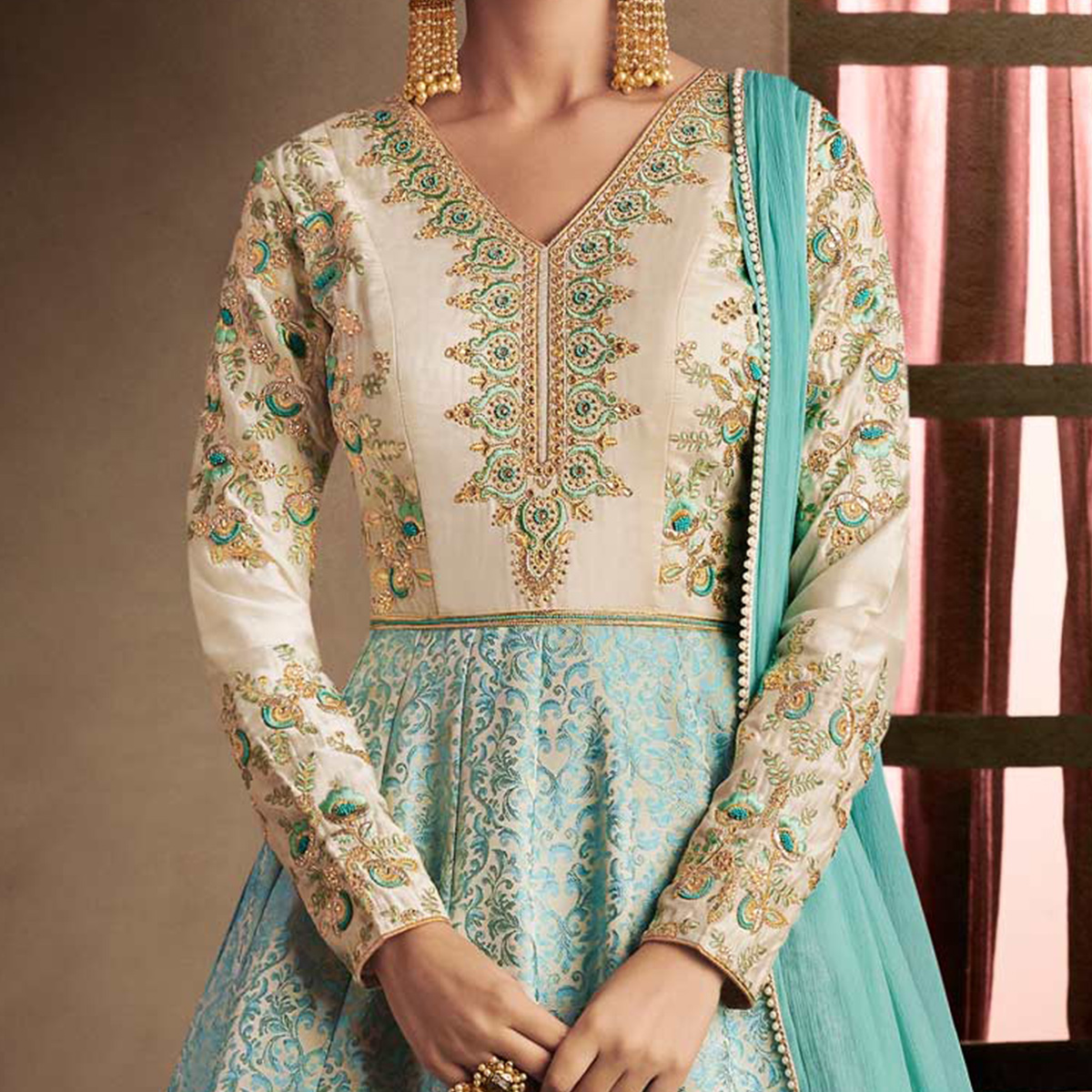 Desirable Firozi Colored Designer Embroidered Work Brocade Anarkali Suit