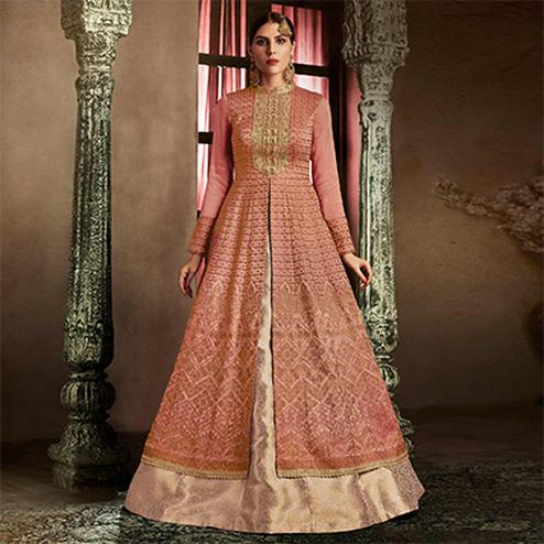 Sophisticated Rust Colored Designer Embroidered Work Slub Silk Lehenga Kameez