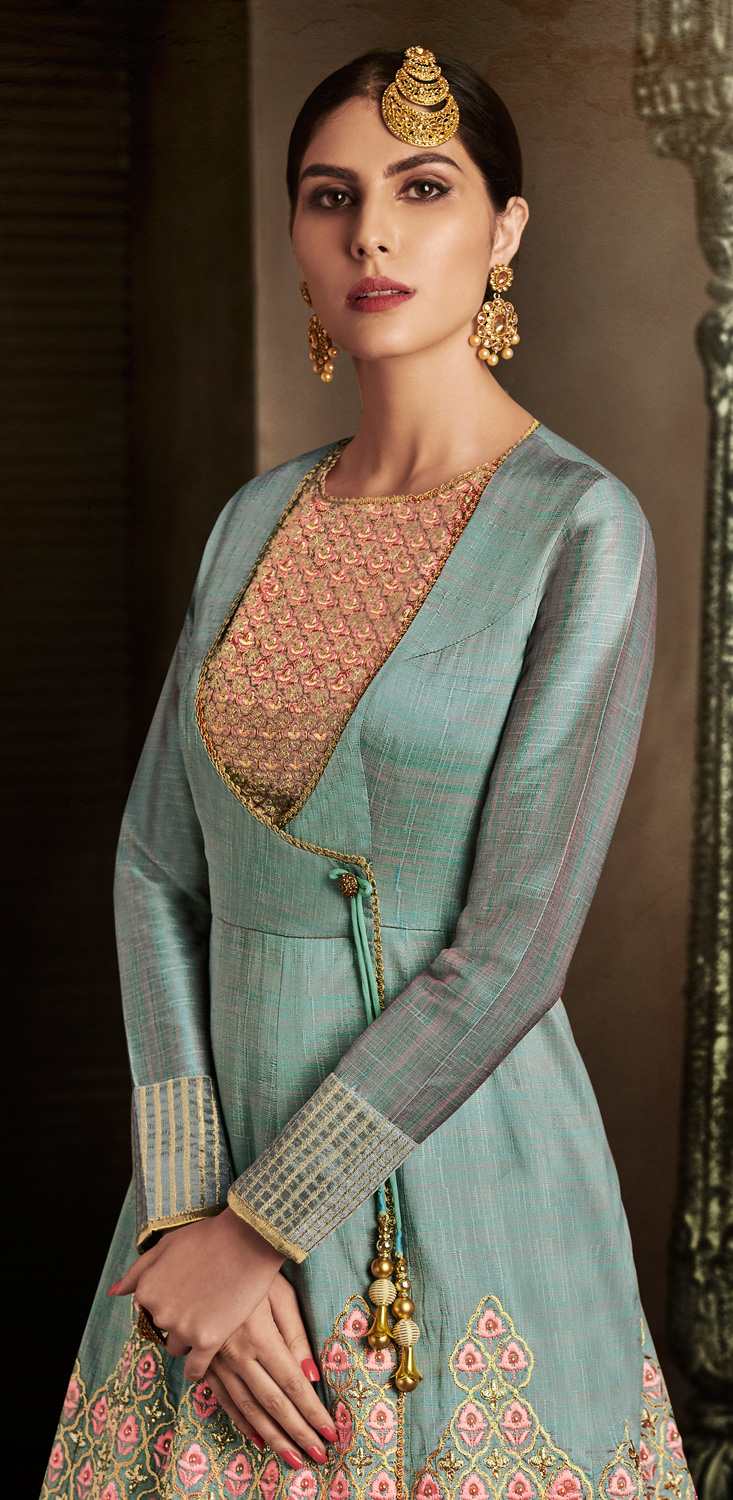 Unique Grey Colored Designer Embroidered Work Slub Silk Anarkali Suit