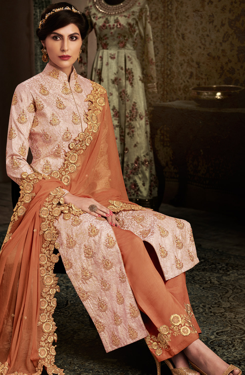 Dazzling Peach Colored Designer Floral Embroidered Work Brocade Suit