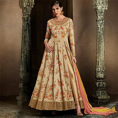 Sensational Beige Colored Floral Embroidered Work Handloom Silk Anarkali Suit