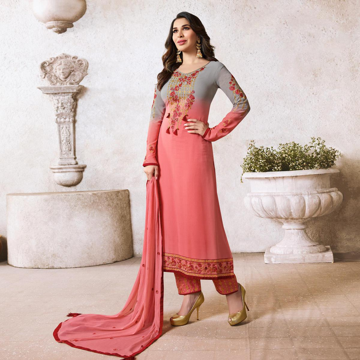 Charming Pink-Grey Colored Designer Partywear Georgette Suit