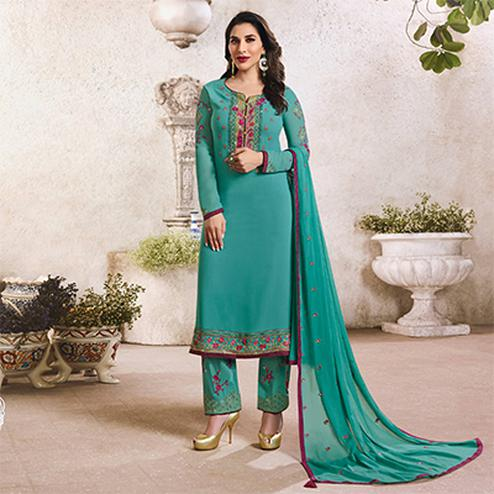 Delightful Teal Blue Colored Designer Partywear Georgette Suit