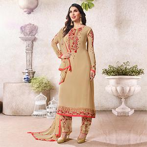 Marvellous Beige Colored Designer Partywear Georgette Suit