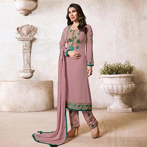 Mesmerising Light Wine Colored Designer Partywear Georgette Suit