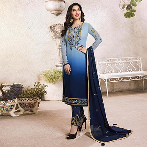 Pretty Light Blue-Navy Blue Colored Designer Partywear Georgette Suit