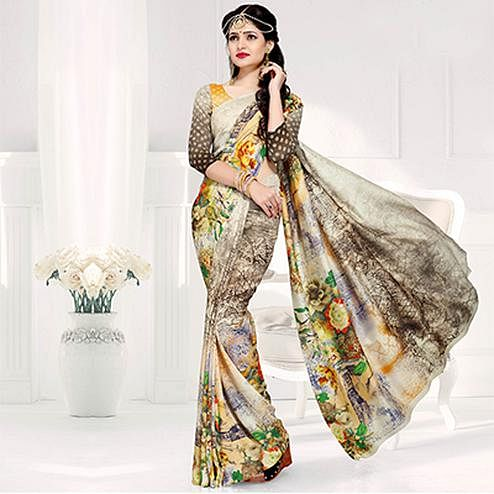 Pleasant Off-White Colored Casual Printed Crepe Saree