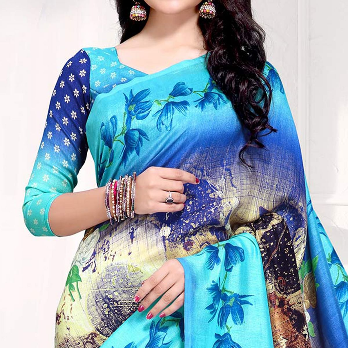 Blooming Blue Colored Casual Printed Crepe Saree