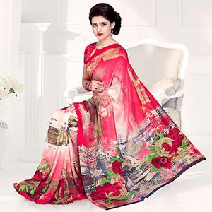 Refreshing Pink Colored Casual Printed Crepe Saree