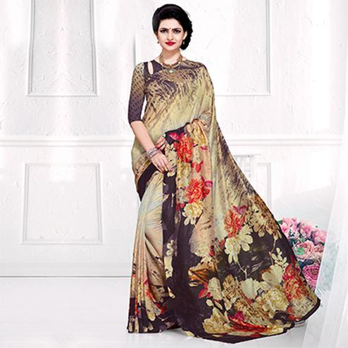 Beautiful Beige Colored Casual Printed Crepe Saree