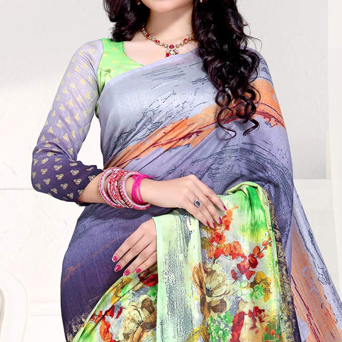 Elegant Multi Colored Casual Printed Crepe Saree