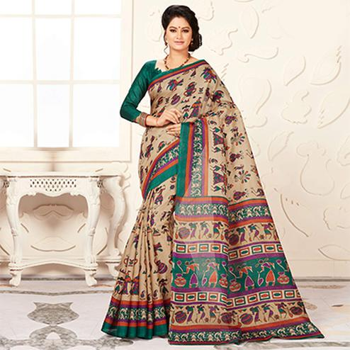 Trendy Green And Cream Warli Print Bhagalpuri Silk Saree