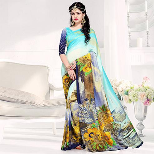 Eye-Catching Blue-Multi Colored Casual Printed Crepe Saree
