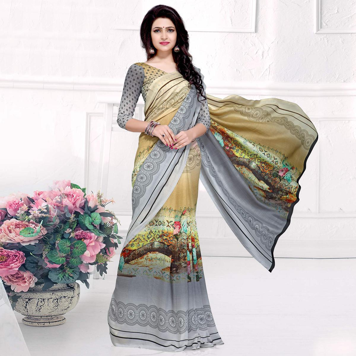 Blissful Gray-Beige Colored Casual Printed Crepe Saree
