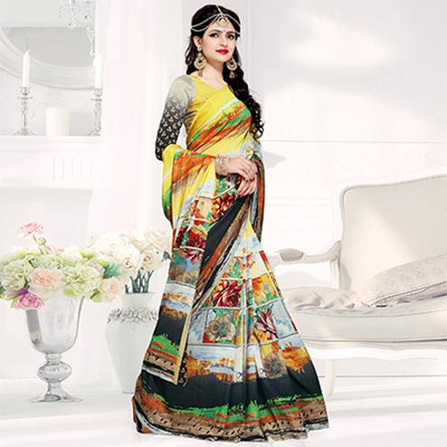 Flaunt Yellow-Multi Colored Casual Printed Crepe Saree