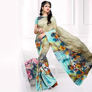 Lovely Beige-Multi Colored Casual Printed Crepe Saree