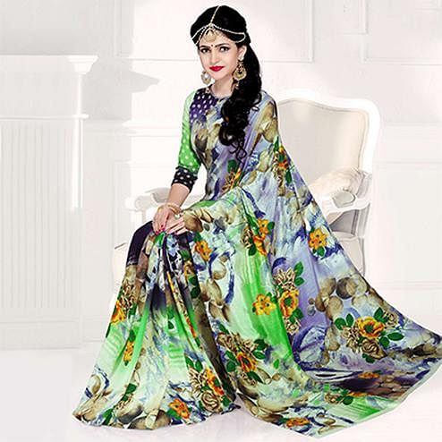 Marvellous Multi Colored Casual Printed Crepe Saree