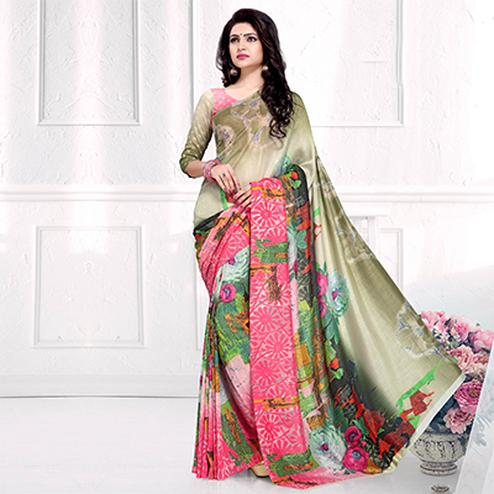 Majestic Multi Colored Casual Printed Crepe Saree