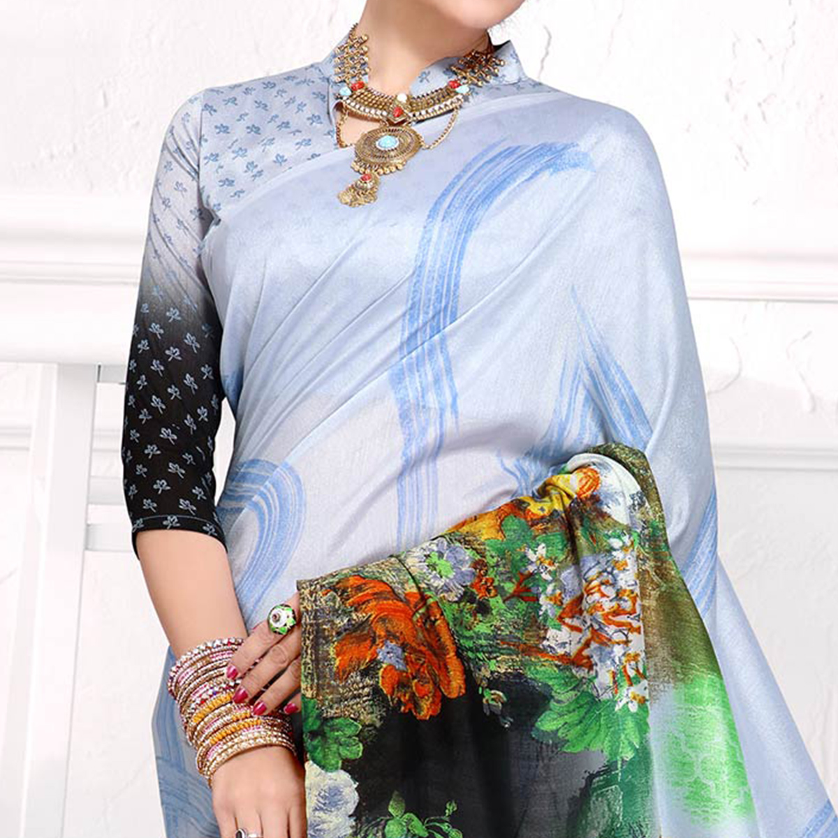 Desiring Ice Blue-Multi Colored Casual Printed Crepe Saree