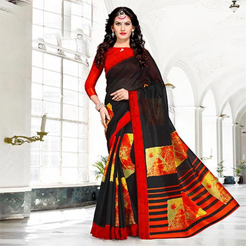 Black Colored Casual Printed Chanderi Silk Saree