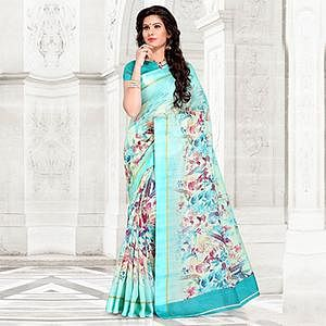 Aqua Blue Colored Casual Printed Chanderi Silk Saree