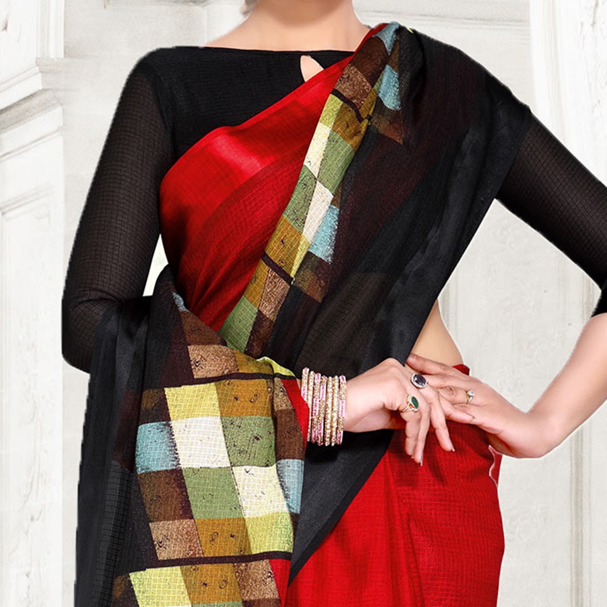 Red-Black Colored Casual Printed Chanderi Silk Saree