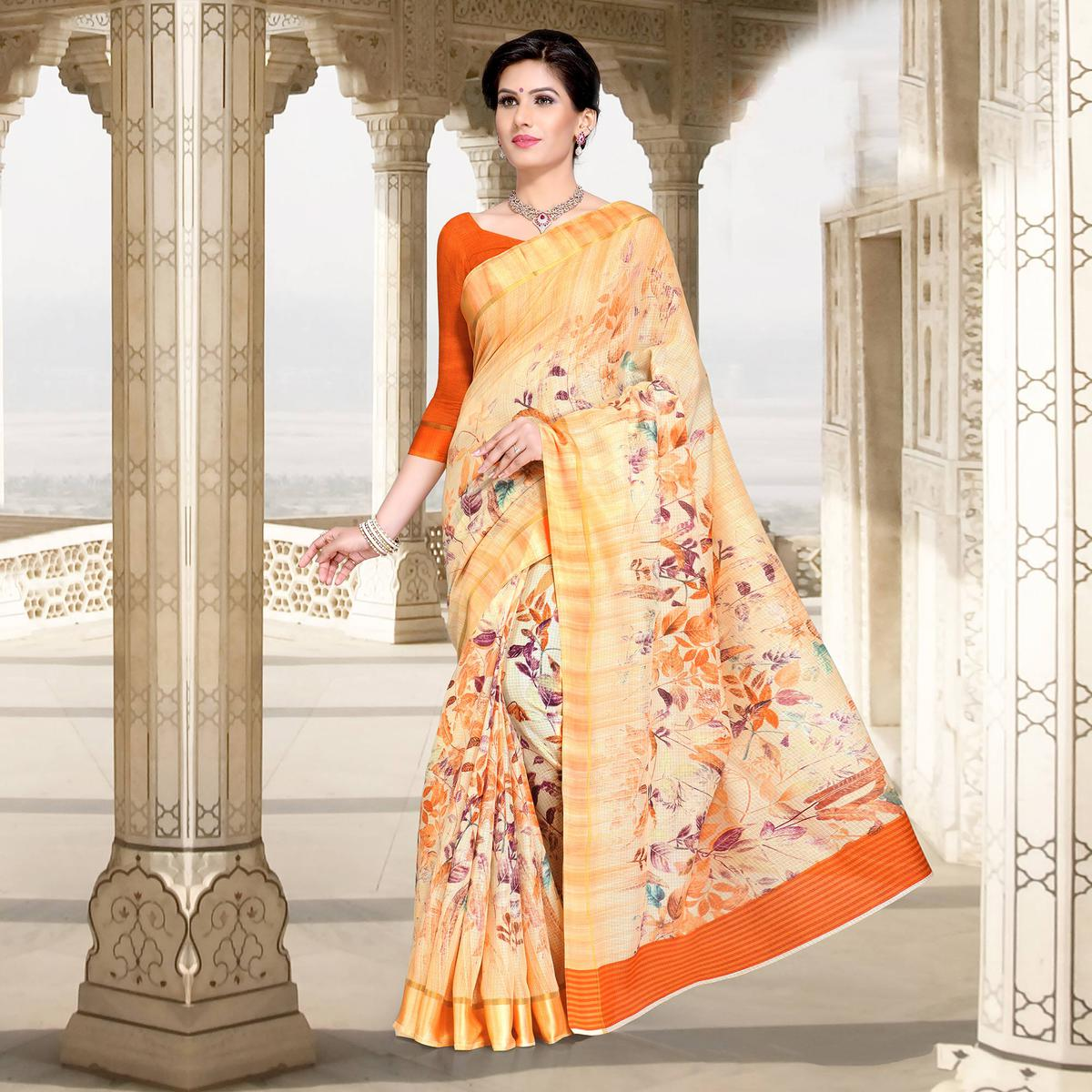 Beige Colored Casual Printed Chanderi Silk Saree