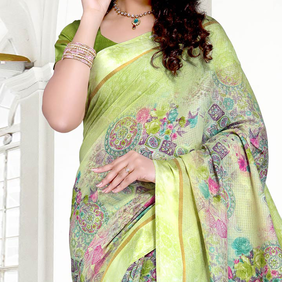 Light Green Colored Casual Printed Chanderi Silk Saree