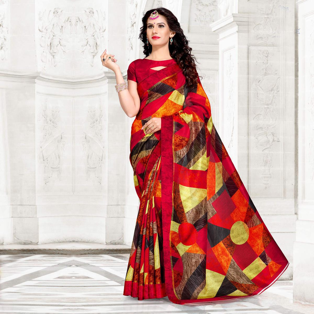 Maroon Colored Casual Printed Chanderi Silk Saree