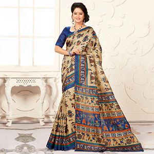 Trendy Blue And Cream Warli Print Bhagalpuri Silk Saree