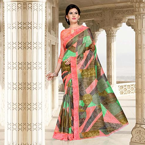 Pink-Multi Colored Casual Printed Chanderi Silk Saree