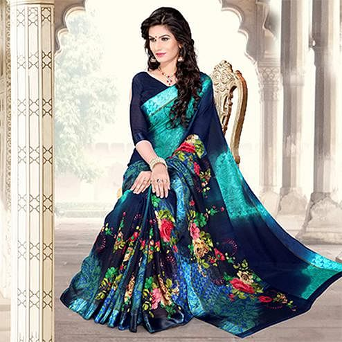 Navy Blue-Aqua Blue Colored Casual Printed Chanderi Silk Saree